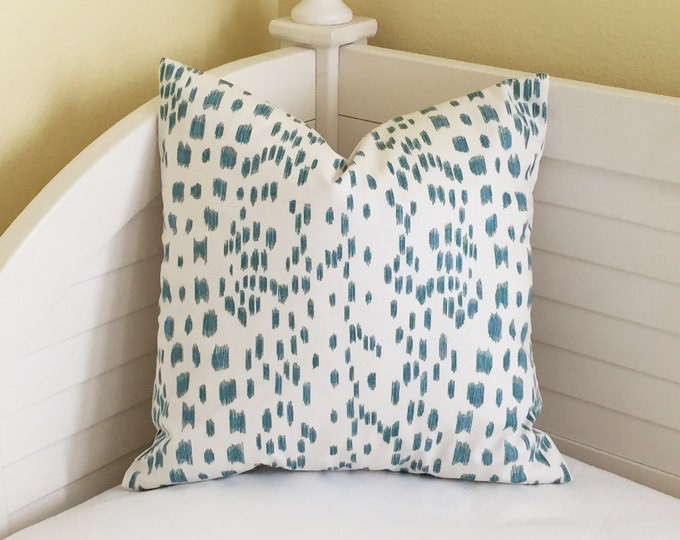 Brunschwig and Fils Les Touches in Aqua Animal Print Designer Pillow Cover - Square, Euro and Lumbar Sizes