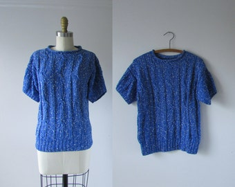 vintage knit top / textured woven top
