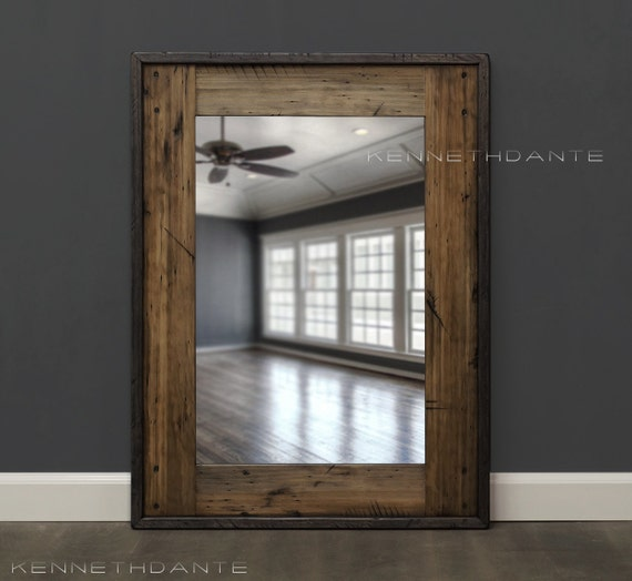 Simple 24x36 Reclaimed Wood Bathroom Mirror Rustic By HurdandHoney
