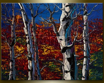 Autumn Landscape Painting Birch Tree Forest Oil on Canvas Textured Palette Knife Modern Original Art 12X16 by Willson Lau