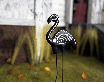 Skeleton flamingo lawn ornament - dollhouse miniature