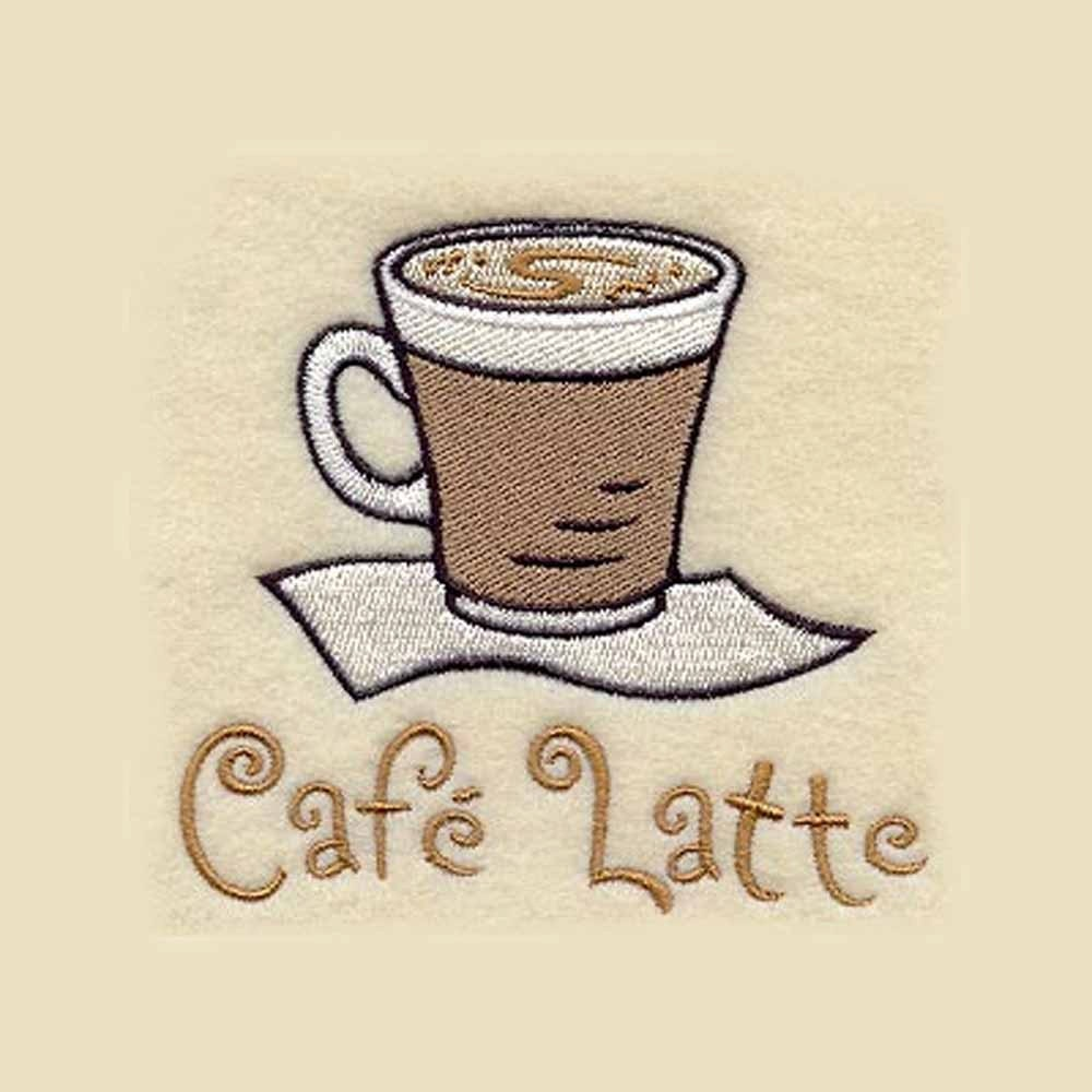 Cafe' Latte Tea Towel Personalized By CharlenesEmbroidery