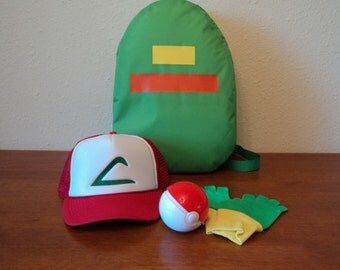 Pokemon Costume Ash Trainer Accessories Set Backpack Hat -  Gloves - ball Choose your size