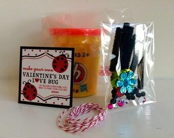 Kids Valentine - Valentine's Day Card - Playdoh Valentine - Preschool Gift - Ladybug Valentine - Class Valentine - Ladybug Tag - Favor