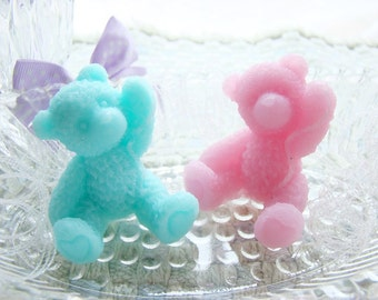 Set of 10 Teddy Bear Soap Favors.  Great for Baby Showers and Birthday Parties.  Many Colors and Fragrances Available.