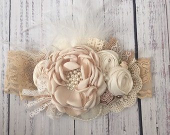 Pure elegance flower headband by cozette couture baby headband photo prop