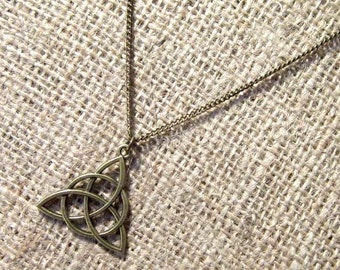 Celtic triquetra necklace - bronze Celtic knots knotwork trinity knot