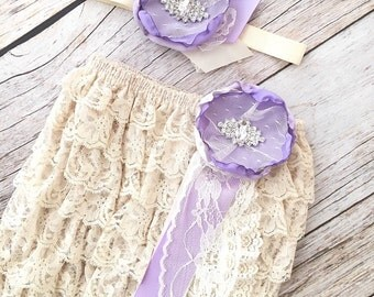 Cream and Lavender Petti Romper Set - Lace Petti Romper and Headband Set - 1st Birthday Outfit - Cream Romper Set - Baby Girl Toddler Photo