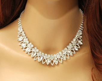 Wedding Crystal Necklace Set, Bridal Bib Necklace, Silver Diamante Choker, White Rhinestone Necklace, Wedding Jewelry Set, Prom Jewelry,