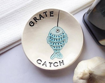 Fish Dish - Grater Dish - Garlic Grater - Ginger Grater - Kitchen Grater - Foodie Gift - Fish Plate - Mincer - Garlic Mincer - Ceramic