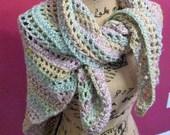 "Women's crocheted triangle shawl, 60""x 37"""