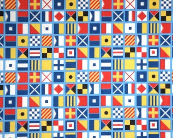 Colorful Nautical Flags Print Pure Cotton Fabric--One Yard