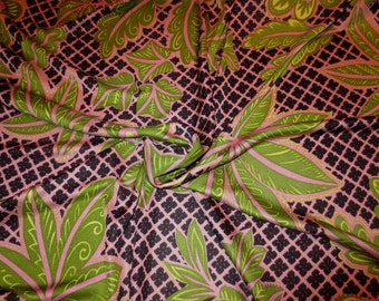 REMNANT--Navy with Lime and Mauve Leaf on Basketweave Print Pure Silk Jersey Knit Fabric--34 INCHES