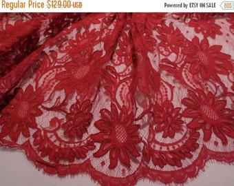 ON SALE Dark Red Floral Design French Alencon Lace Fabric--One Yard