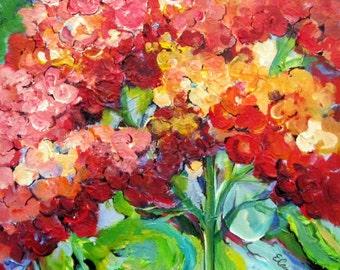 Geranium Landscape Original Painting 18 x 24  Art by Elaine Cory