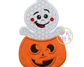 Ghost Popping Pumpkin Applique Design For Machine Embroidery, INSTANT DOWNLOAD now available