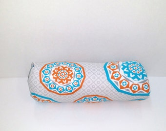Infant Car Seat ARM PAD, Handle Cover Wrap, Reversible -  Turquoise and Orange Medallion