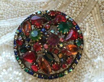 Vintage Weiss Rhinestone Brooch, Multicolor Designer Brooch, Estate Jewelry, Costume Jewelry, Jewel Tone Brooch