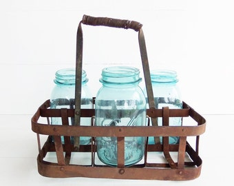 Vintage Zinc Bottle Carrier . French Country Farmhouse Decor . Zinc Metal Wine Holder Rack . Table Centerpiece Decor