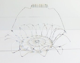 Vintage  Chippy White Wire Basket