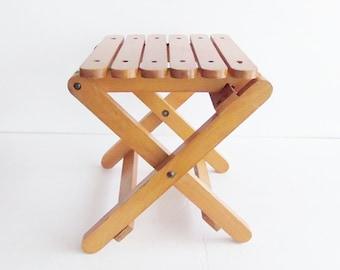 Vintage Wood  Slat Folding Stool Bench