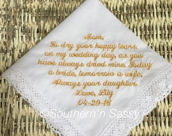 Embroidered Personalized Wedding Handkerchief for Mother of Bride or Groom