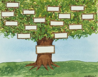 Personalizable Watercolor Family Tree Print