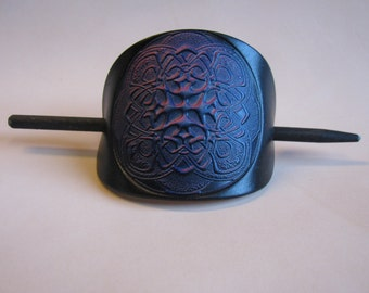 Leather Hair Barrette...large size