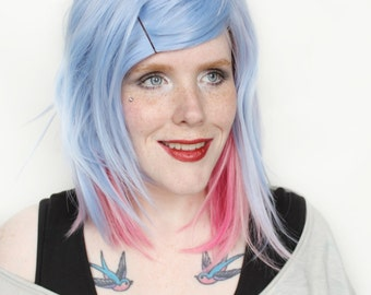 SALE Blue wig | Blue Scene wig, Straight pastel wig, short pink wig | Lolita wig | Powder Puff