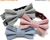 BIG SALE Bowtie Dog Collar- Choose Black, Red or Navy Seersucker