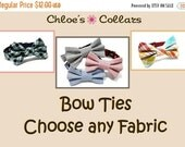 ON SALE Bow Tie Attachment for any Dog Collar- Choose any fabric in the shop