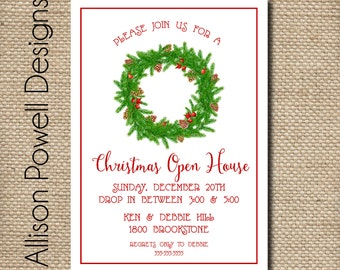 Holiday Party Invitation -Chirstmas Open House - Christmas Party Invitation