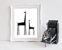 Black & White   Giraffe   Nursery Art   Wall Art   Nursery Decor   5x7   8x10   11x14