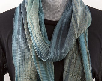 Blue Men's Bamboo Scarf, Organic and Spaced Dyed