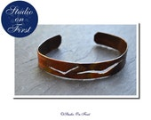 Copper Cuff Bracelet, Cut Out Pattern, Birds in Flight, Negative Space, Forged Bracelet