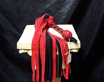 Red and Black Suede Flogger- Flogger, Whip, BDSM, Kinky, Renaissance Fair