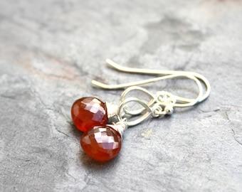 Spessartite Earrings Garnet Sterling Silver Dangle Earrings, Wire Wrapped Rust Orange Red
