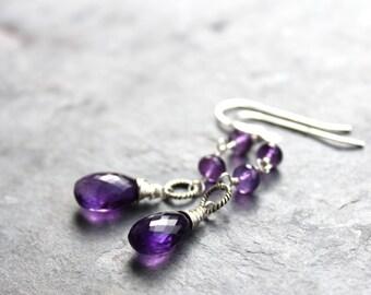 Amethyst Jewelry Amethyst Earrings Sterling Silver Wire Wrapped Purple Gemstone Dangle Earrings