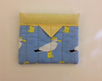 Sea Gulls Quilted Fabric Mini Snap Bag 4-3/4 x 4