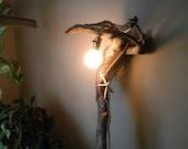 Tall driftwood wall light with fisherman's netting and starfish nautical lamp