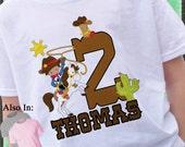 Cowboy Birthday Shirt -  Birthday Shirt - Boy Personalized Shirt - Cowboy on Horse Shirt - Lasso Cowboy Birthday Party Shirt