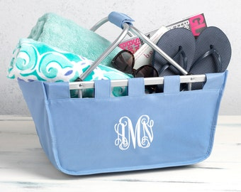 SHIPS NEXT DAY---Monogrammed Large Hydrangea Blue Market Tote Basket --Free Monogramming--The Perfect Birthday Gift---