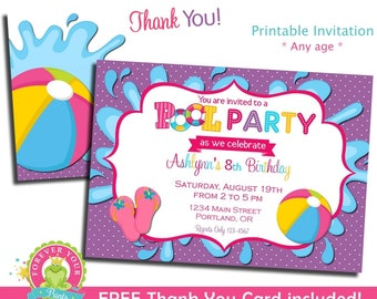 Pool Party Invitation / Pool Party Invite / Pool Birthday Invitation / Pool Party Printables / Summer Birthday / Indoor Pool Party