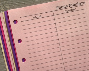 Phone numbers inserts - Fits Filofax or Organiser - pink and purple - personal/pocket/mini