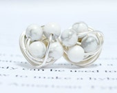 Regular size- Marble and silver- Howlite / White Marble beads and silver wire- Luxe Gemstone wire wrapped petite stud earrings