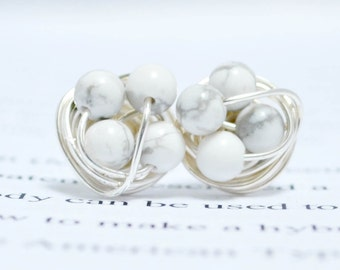 Marble and silver- Howlite / White Marble beads and silver wire- Luxe Gemstone wire wrapped petite stud earrings