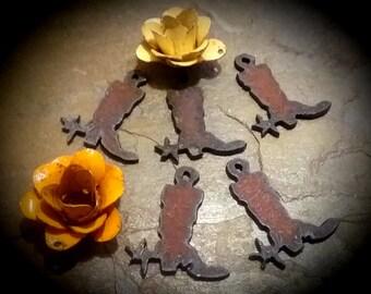 "Rusty Cowboy Boots, Mini Charms, Rusty Cowgirls, 1x2.5"", Rusty Steel Pendant"