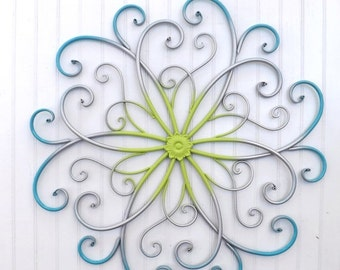 Large Metal Wall Art / Bedroom Wall Decor / Turquoise / Silver / Lime / Metal Wall Decor