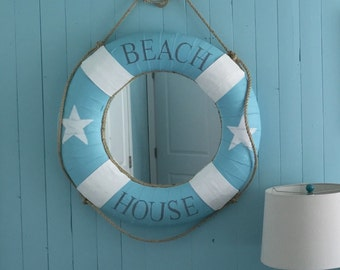 Vintage Life Preserver Ring Buoy Mirror Canvas Beach House Wall Nautical Decor by CastawaysHall