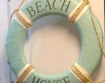 Vintage Life Preserver Ring Float Buoy Canvas House Wall Hanging Nautical Decor  by CastawaysHall - Choose Your Colours and Words